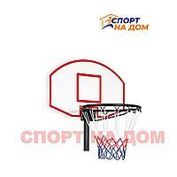 Щит Белый стритбольный с кольцом и сеткой триколор (88х61)
