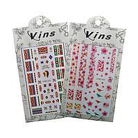 Наклейки для дизайна ногтей VINS 15 х 9 cм (в ассорт.) №86057(2)