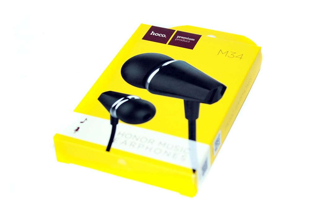 Проводная стерео-гарнитура Hoco M34 Honor Music, mini Jack 3.5 mm., затычки, цвет черный