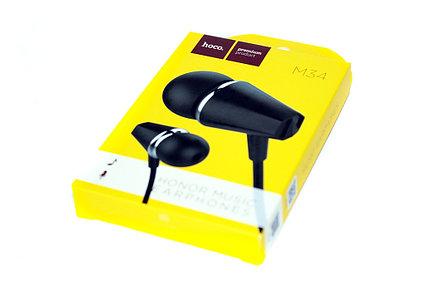 Проводная стерео-гарнитура Hoco M34 Honor Music, mini Jack 3.5, вакуумные, микрофон, черные