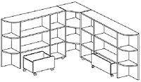 Стеллаж угловой для игрушек ГОРОДОК (2015/2015х380Х1120 мм) арт. СТГ