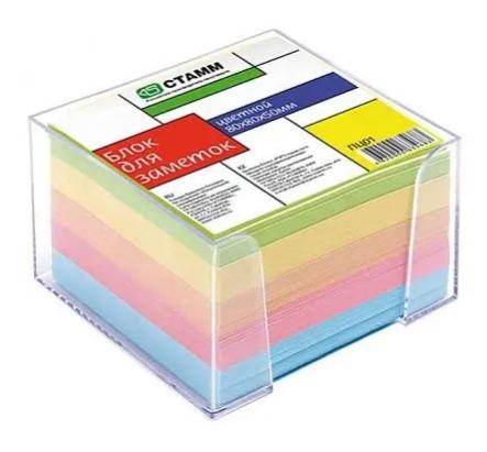 Блок для записей СТАММ цветной в подставке 8х8х5 см