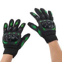 Перчатки для езды на мототехнике, с защитными вставками, пара, размер М, черно-зеленый