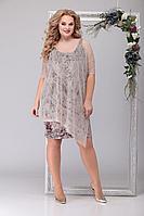 Женское осеннее кружевное бежевое нарядное большого размера платье Michel chic 2042 беж 56р.