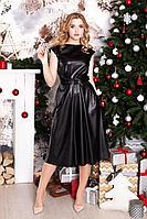 Женское осеннее кожаное черное нарядное платье MEDIUM 5201 48р.