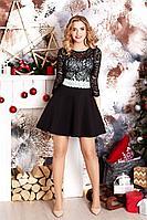 Женское осеннее кожаное черное нарядное платье MEDIUM 5202 48р.