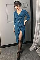 Женское осеннее бирюзовое нарядное платье MEDIUM 5238 бирюза 44р.