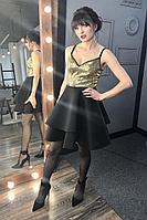 Женское осеннее бежевое нарядное платье MEDIUM 5251 44р.