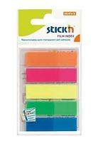 Закладки клейкие STICK`N 12х45 мм, пластиковые, 5 цветов х 25 закладок