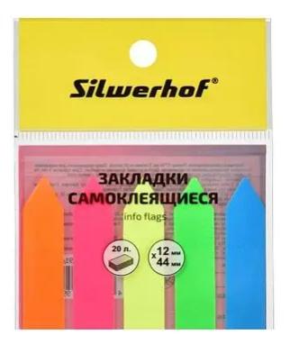 """Закладки клейкие SILWERHOF """"Стрелка"""" 12 х 44 мм, пластиковые, 5 цв х 20 листов"""