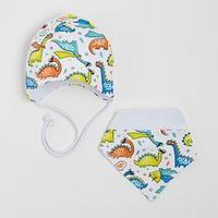 Комплект для мальчика (шапка,снуд), цвет белый, размер 41-44 см (6-9 мес.)