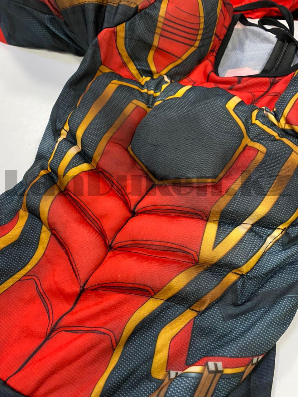 Костюм детский карнавальный цельный для мальчиков Человек Паук с мускулами - фото 4