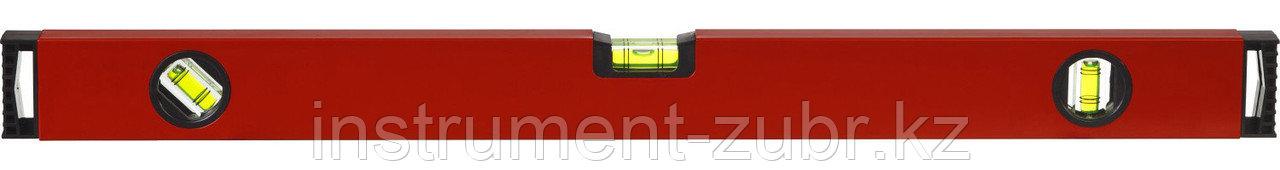 Уровень ЗУБР коробчатый, крашеный, 3 ампулы, фрезерованная базовая поверхность, 80 см