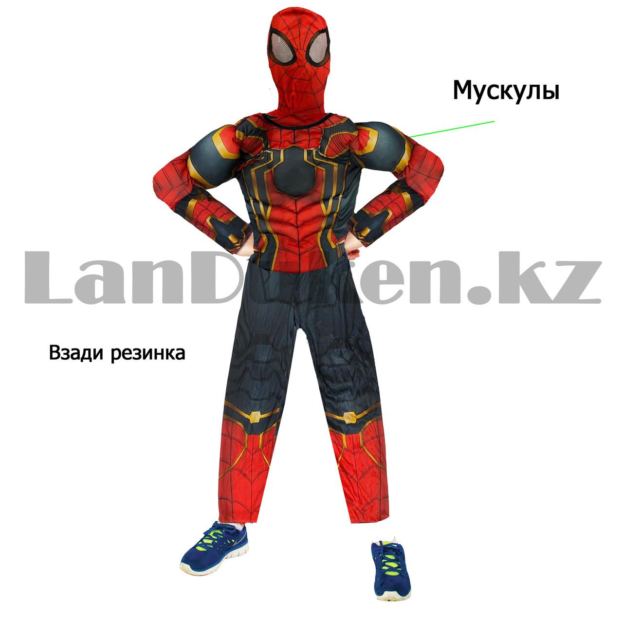 Костюм детский карнавальный цельный для мальчиков Человек Паук с мускулами - фото 9
