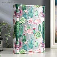 """Шкатулка-книга дерево кожзам """"Фламинго и суккуленты"""" зеркало 26х17,5х5 см"""