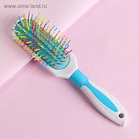 Расчёска массажная, 6 × 23,5 см, цвет белый/голубой