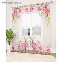 Фототюль «Куст прекрасных роз», размер 145 х 260 см - 2 шт., вуаль