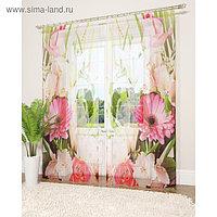 Фототюль «Летние цветы», размер 145 х 260 см - 2 шт., вуаль