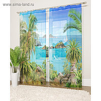Фототюль «Таинственный остров», размер 145 х 260 см - 2 шт., вуаль
