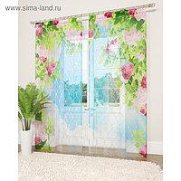 Фототюль «Роскошные цветы», размер 145 х 260 см - 2 шт., вуаль