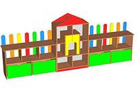 Стеллаж для игрушек ДЕРЕВЕНЬКА (3400х400Х1360 мм) арт. СТДР