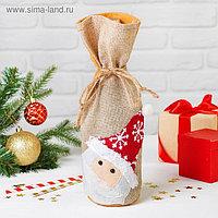 Одежда на бутылку «Дед Мороз», шапочка со снежинкой