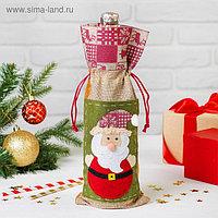 Одежда на бутылку «Дед Мороз», шапочка с рисунком, цвета МИКС