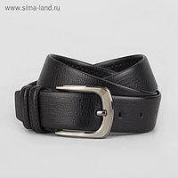 Ремень мужской, винт, пряжка матовый металл, ширина - 3,5 см, цвет чёрный