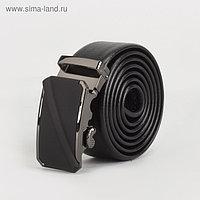 Ремень мужской, гладкий, пряжка автомат металл, ширина - 3,5 см, цвет чёрный