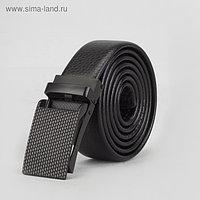 Ремень мужской, гладкий, пряжка зажим матовый тёмный металл, ширина - 3 см, цвет чёрный