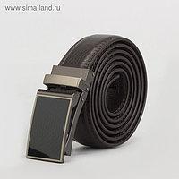 Ремень мужской, 2 строчки, пряжка зажим металл, ширина - 3 см, цвет кофе