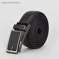 Ремень мужской, 2 строчки, пряжка зажим металл, ширина - 3 см, цвет чёрный