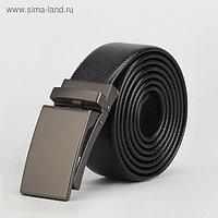 Ремень мужской, пряжка зажим матовый металл, ширина - 3,5 см, цвет чёрный