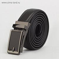 Ремень мужской, 2 строчки, пряжка зажим металл, ширина - 3,5 см, цвет чёрный