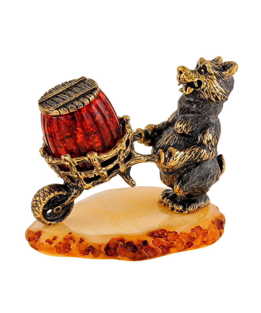 Фигурка Медведь с бочонком меда. Ручная работа