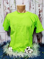 "Футболка Х/Б, 52(XL) ""Unisex"", ткань Россия, цвет: салатовый"