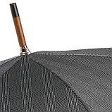 Элитный мужской зонт с кожаной ручкой. Производство Италия, фото 3