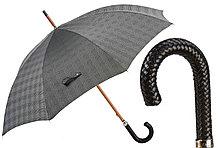 Элитный мужской зонт с кожаной ручкой. Производство Италия