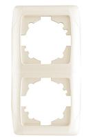 Рамка для розеток и выключателей горизонтальная CARM KREM 2LI DIKEY CERC