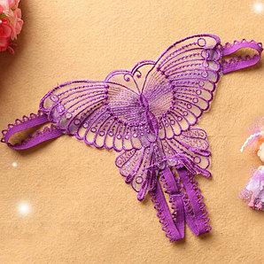"""Стринги """"Бабочка"""", фиолетовые, 42 (S)"""
