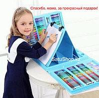 Набор для художника мольберт 208 предметов  В ПОДАРОК РАСКРАСКА для детей Мальберт
