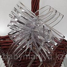 Подарочный бант для оформления корзин и коробок серебро