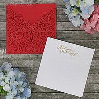 Свадебное приглашение резное, цвет розовый, 17 х 28,5 см
