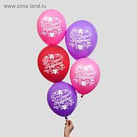 """Шар воздушный 12"""" """"С днем рождения"""", цветы, 1-сторонний, набор 5 шт. МИКС"""