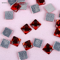 Стразы термоклеевые «Квадрат», 6 × 6 мм, 100 шт, цвет красный