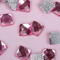 Стразы термоклеевые «Квадрат», 8 × 8 мм, 50 шт, цвет розовый