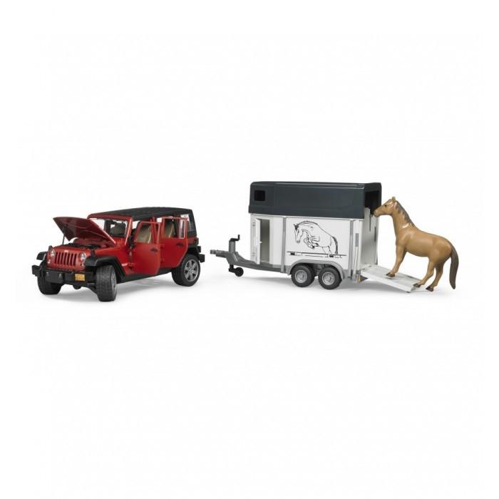 Bruder Игрушечный Внедорожник Jeep Wrangler Unlimited Rubicon c прицепом-коневозкой (Брудер)