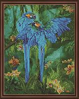 "Алмазная мозаика на подрамнике ""Синие попугаи"", 40х50 см"
