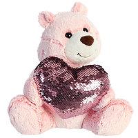 Мягкая игрушка Aurora 190114A Аврора Медведь Большое сердце розовый 30 см.