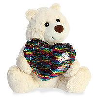 Мягкая игрушка Aurora 190114B Аврора Медведь Большое сердце кремовый 30 см.